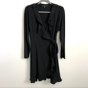 Tiana B. Black Ruffle Knee Length Wrap Dress